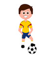 soccer player with a soccer ball vector image vector image
