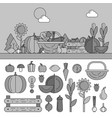 summer basket with vitamins line monochrome vector image vector image