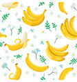 summer exotic pattern with yellow bananas flowers vector image vector image