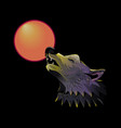 wolf head howling on moon vector image vector image