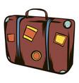 brown travel suitcase icon cartoon vector image