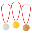 gold silver or bronze medals reward for victory vector image