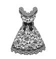 Lace black dress vector image
