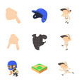 baseball game icons set cartoon style vector image vector image