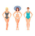 Beautiful girls women in swimsuit bathing suits vector image