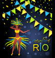 brazil carnival poster with girl dancer wearing vector image