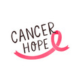 breast cancer hope handwritten lettering women vector image