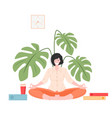 business woman sitting and meditatin vector image