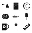 candy and coffee icon set simple style vector image