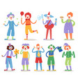 cartoon clown character funny circus man clownery vector image vector image
