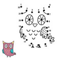 connect the dots and draw a cute owl vector image vector image