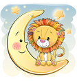 cute cartoon lion on the moon vector image vector image