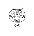 cute simple cat face cartoon style vector image