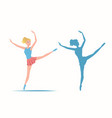 dancing sportive and young ballerina and her vector image vector image