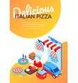 delicious italian pizza - modern colorful vector image vector image