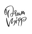dream big hand drawn dry brush lettering ink vector image vector image