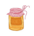 elegant drawing of glass jar of delicious organic vector image vector image
