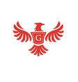elegant phoenix with letter g logo vector image vector image