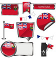 glossy icons with flag of province manitoba vector image vector image