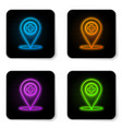 glowing neon medical map pointer with cross vector image vector image