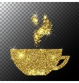 Gold Glitter Sparkle Cup of Coffee with vector image vector image