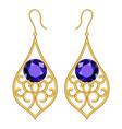 golden earrings mockup realistic style vector image vector image