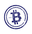 grunge rubber stamp with bitcoin symbol vector image