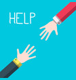 hands with help title - helping hands concept vector image vector image
