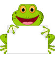 happy frog cartoon with sign vector image vector image
