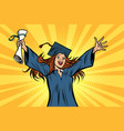 happy graduate girl student of the college or vector image vector image