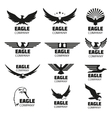 Heraldic symbols with eagle silhouettes vector image vector image