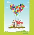 house with multicolored balloons vector image vector image