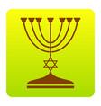 jewish menorah candlestick in black silhouette vector image