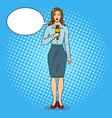 journalist with microphone pop art vector image