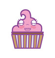 kawaii cute happy muffin dessert vector image vector image