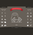 kettlebell and barbell line icon vector image vector image