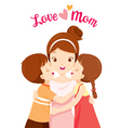 Kids Hugging Mother And Kissing On Her Cheeks vector image