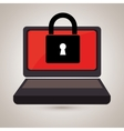 laptop computer with padlock isolated icon design vector image vector image