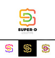 letter s and d monogram square shape logo with vector image