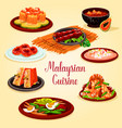 malaysian cuisine cartoon poster for menu design vector image