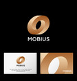 mobius logo impossible gold shape web icon vector image