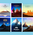 mountains peaks card or brochure tourism on vector image vector image