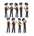 police officers in blue uniform drinking coffee vector image vector image