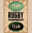 Rugby typographical vintage grunge style poster