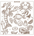 seafood and fresh fish sketch icons set for vector image vector image