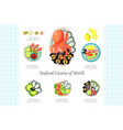 seafood cuisine of world crab shrimp octopus vector image