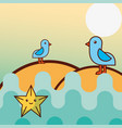 seagull birds starfish sea life cartoon vector image