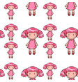 seamless pattern tile cartoon with toy doll vector image
