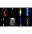 set multicolored lightning bolts vector image vector image