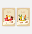 set of flyer or poster templates for farm and fast vector image vector image